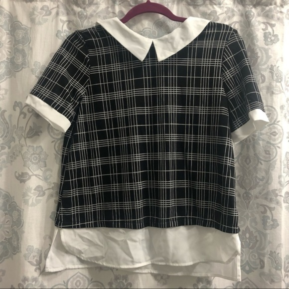 Monteau Tops - Monteau Collard Black and White Top